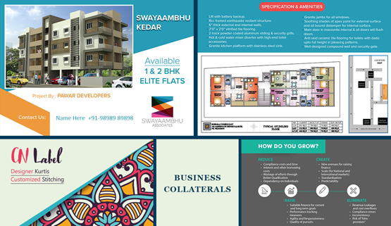 Brochure design, marketing collateral and content portfolio